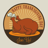 Retro Brand Mark Thanksgiving Dinner, Vector Illustration Royalty Free Stock Photography