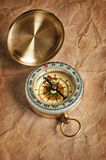 Retro brass compass Stock Images