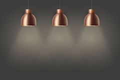 Retro Brass stylish ceiling cone lamps. Vintage Brass stylish cone lamps on dark wall. Original Retro design. Hang ceiling model. Vector illustration  on white Royalty Free Stock Image