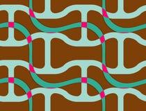 Retro- braunes gewelltes 3D mit grünem Netz Stockbilder