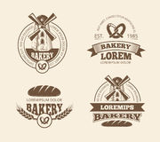 Retro bread bakery old style logos labels badges emblems vector illustration