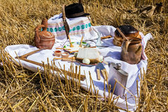 Retro breakfast like in old times, outdoor. Stock Photography