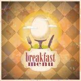 Retro breakfast menu card design. Royalty Free Stock Image