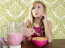 Retro breakfast woman milkshake corn flakes Stock Photo