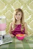 Retro breakfast woman milkshake corn flakes Stock Image