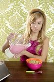 Retro breakfast woman milkshake corn flakes Royalty Free Stock Photos