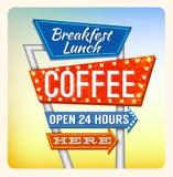 Retro Breakfest för neontecken kaffe royaltyfri illustrationer