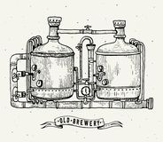Retro brewery engraving. Copper tanks and barrels in brewery beer. Local brewery. Vintage vector engraving illustration. For web, poster, label, invitation to Royalty Free Stock Photos
