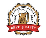 Retro brewery label. With beer tankard, red ribbon and decorative elements Royalty Free Stock Photography