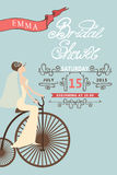 Retro Bridal shower invitation.Bride and retro Stock Photo