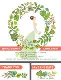 Retro bridal shower invitation set.Bride,green Stock Photo