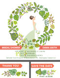 Retro bridal shower invitation set.Bride,green Stock Photos