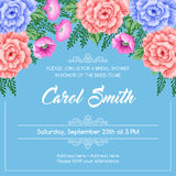 Retro bridal shower invitation. Bridal shower invitation template with flowers. Vector Illustration in retro style Royalty Free Stock Photo
