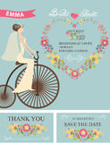 Retro Bridal shower set.Bride,floral decor,bicycle Royalty Free Stock Photos