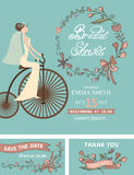 Retro Bridal shower set.Bride,floral decor,retro Royalty Free Stock Photo