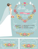 Retro Bridal shower set.Bride,floral wreath,decor Royalty Free Stock Photos