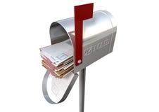 Retro- Briefkasten und weißer Umschlag-Stapel Lizenzfreie Stockbilder