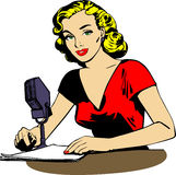 Retro broadcaster woman Royalty Free Stock Images