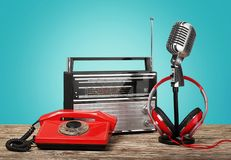 Retro. Broadcasting wallpaper hot-line on air frequency broadcast Stock Photo