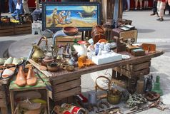 Retro and brocante gadgets at the market in Sineu, Mallorca, Spain Stock Image
