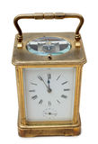 Retro bronze clock four. Vintage bronze clock on a white background Royalty Free Stock Images