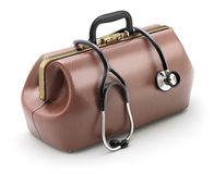 Retro brown leather doctor`s bag with the stethoscope Stock Photo