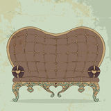 Retro brown leather sofa heart-shaped. Illustration of vintage brown leather sofa heart-shaped Royalty Free Stock Images