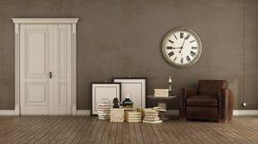 Retro brown living room vector illustration