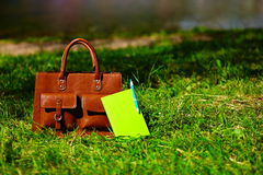 Retro brown  man leather bag and notebook in bright colorful summer grass Stock Photo