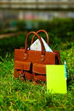 Retro brown  man leather bag and notebook in bright colorful summer grass Stock Photos