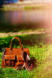 Retro brown shoes and man leather bag in bright colorful summer grass Royalty Free Stock Photo