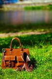 Retro brown shoes and man leather bag in bright colorful summer grass Stock Image