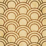 Retro brown watercolor texture grunge seamless background orient. Al fish scale round curve line Royalty Free Stock Photo