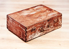 Retro brown wooden suitcase Stock Photo