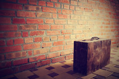 Retro brown wooden suitcase Stock Images