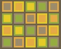 Retro bruine, groene, oranje en gele vierkanten achter Royalty-vrije Stock Foto's