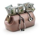 Retro bruine leer artsen` s zak met het geld Stock Fotografie