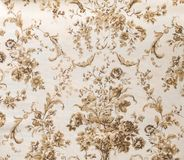 Retro Bruine Sepia Bloemenachtergrond van de Patroonstof Stock Fotografie