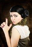 Retro brunette woman Stock Photos