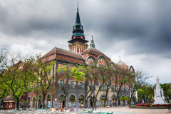 Retro building of city hall in Subotica city, Serbia. Subotica, Serbia - April 23, 2017: Retro building of city hall in Subotica city, Serbia royalty free stock photos