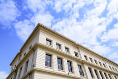 The retro building with the sky and cloud. Royalty Free Stock Images