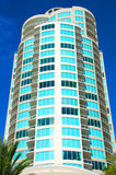 Retro building in south Florida with palm trees Royalty Free Stock Photos