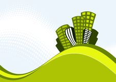 Retro Buildings Illustration. Abstract illustration of high-rise buildings on a wave of striped green and yellow. Light blue background with white dotted wave stock illustration