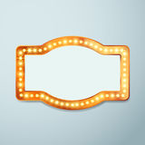 Retro bulb circus cinema light sign template Royalty Free Stock Photography