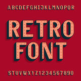 Retro bulb style alphabet vector font. Letters and numbers. Royalty Free Stock Images