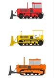 Retro bulldozeruppsättning. vektor illustrationer