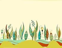 Retro bunte abstrakte mit Blumengrenze Lizenzfreies Stockfoto