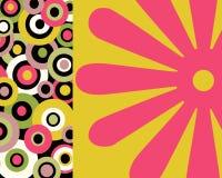 Retro- bunte Kreise und Blumencollage stock abbildung
