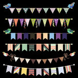 Retro bunting and garland set vector. Template for Royalty Free Stock Photo