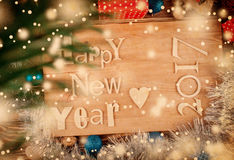 Retro buon anno di legno dell'iscrizione Immagine Stock Libera da Diritti